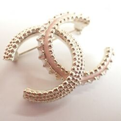 Gold And Pink Coco Mark Brooch Auth 090635