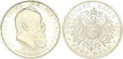 Bavaria 5 Mark Silver Luitpold 1911 D Fast.st From Polished Stamp 50327