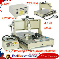 Usb 4axis Cnc 6090 Router Engraver Engraving Metal Cutter Milling Machine 2.2kw