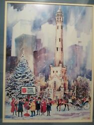 Signed Print -salvation Army Vintage Scene Chicago Water Tower By Don Lindstrom