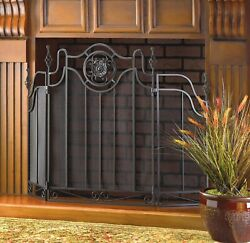 New Black Iron/metal Mesh Tuscan-design Fireplace Screen By Accent Plus