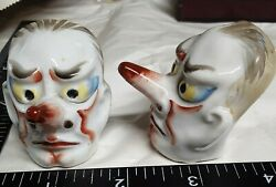 Vintage Salt And Pepper Shakers, Long-nosed Clown Faces, Japan, Unique And Rare