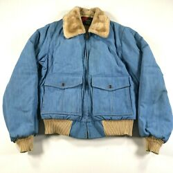 Vintage Outwear From Sears Denim Jacket Mens M Tall Blue Lambswool Collar Lined