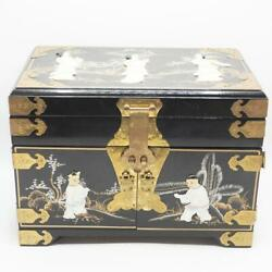 Vintage Japanese Black Lacquer Jewelry Box Drawers Dresser
