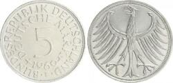 5 Dm J.387 Silver Currency Coin 1969 F Without Randschrift Edge Smooth Vf-xf