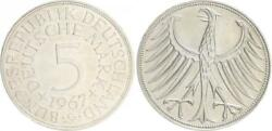 5 Dm J.387 Silver Currency Coin 1967 G Without Randschrift Edge Smooth Vf-xf
