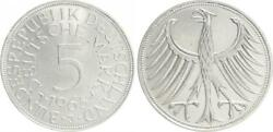 5 Dm J.387 Silver Currency Coin 1965 J Without Randschrift Edge Smooth Almost