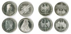 5 Mark Die First Four 1952,55, 57, Federal Republic Germany Complete Xf 1