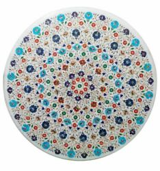 42 Marble Dining Table Top Inlay Rare Stones Round Center Coffee Table Ar1429