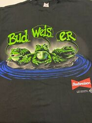 New Budweiser Frogs T-shirt Vintage Single Stitch Size Xl Your Pad Or Mine 1995