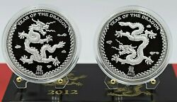 Palau 2012 The Year Of The Dragon Proof Set 2 X 1 Oz Silver Coin