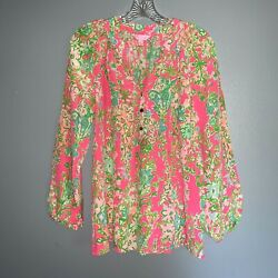 Lilly Pulitzer Elsa 100 Silk Blouse Top Flamingo Pink Southern Charm Large