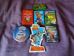 7 Disney Video Advertising Pins, Pinback, Toy Story, Cinderella, And More.