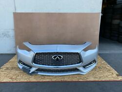 Infiniti Q60 2017-2021 Oem Front Bumper Cover Complete/ Silver. 46k