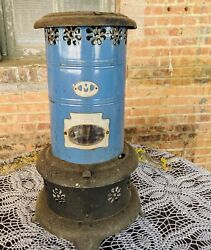 Antique Miller 410 Blue Metal Perfection Smokeless Oil Heater Stove Rustic Decor