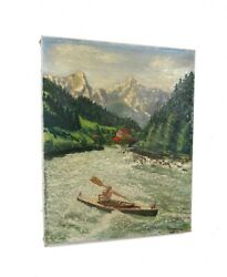 Antique Impressionism Oil Painting Water Sports Kajak Boat Signed 1932