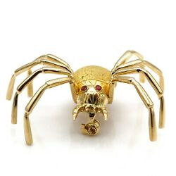 18k Yellow Gold Spider With Ruby Accented Eyes Pin/brooch J5386-1