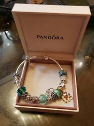 Pandora Bracelet In Box With Glass Murano Charms