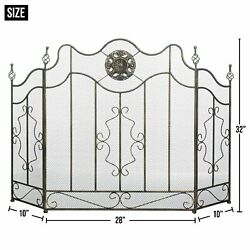 New Iron/sheet Metal Mesh Victorian Black Fireplace Screen By Accent Plus