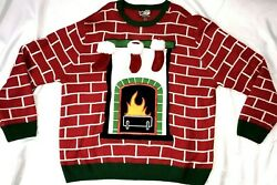 2xl Party Ugly Christmas Sweater Chimney W/ 3 Detachable Mini Stockings