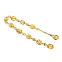 Coco Logos Coin Motif Chain Belt Necklace Gold Accessory 90120606