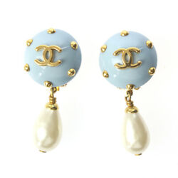 Earrings Light Blue Gold Coco Mark Swing Pearl Auth 090926