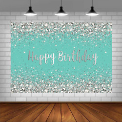 Breakfast Blue And Sliver Birthday Photography Backdrop Sweet 16th 21st Shiny Di