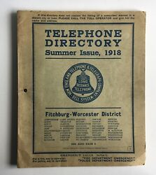 1918 Fitchburg Worcester Phone Directory Summer New England Telephone Telegraph