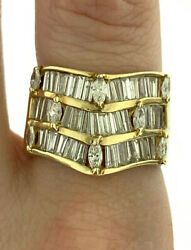Vintage 1.5ctw Diamond Fine Pointed Design Wide Band Ring 14k Yellow Gold Size 7