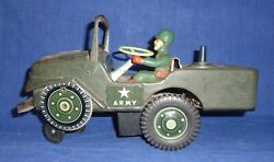 Vintage Old Collectible Battery Operated Army Jeep Tin Toy Modern Made In Japan