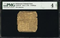 Delaware Colonial Currency Frde-65 June 1 1759 5s Pmg 4 Printed By Ben Franklin