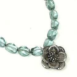 Handcrafted Beaded Statement Necklace Sterling Silver Floral Pendant Blue Glass