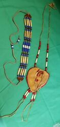 Vintage Beaded Medicine Bag Leather Necklace Pouch And Choker