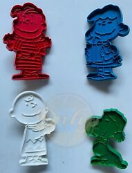 Christmas Peanuts Charlie Snoopy Linus Patty Lot 4 Cookie Cutters 1950s