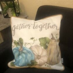 New 17quot; Gather Together Pumpkin Fall Autumn Pillow Cover