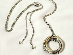 David Yurman The Crossover Collection Circles Pendant Necklace Silver And 14k Gold