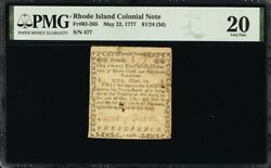 Rhode Island Colonial Currency Frri-265 May 22 1777 1/24 Pmg 20 7 Known