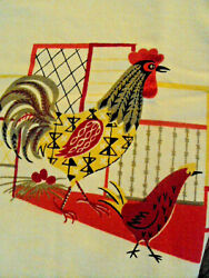 """Vintage Printed Tablecloth Farmhouse Red Rooster Chickens Measures 46"""" X 50"""