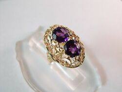 Vintage Russian Rose Gold Jewelry Ring 14 Kt 583-584 Amethyst Us Ring Size 10