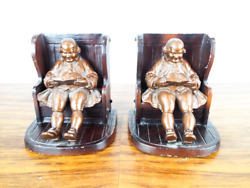 Vintage 1920s Heavy Pair Metal Bookends Father Knickerbocker Home Decor 2 Pieces