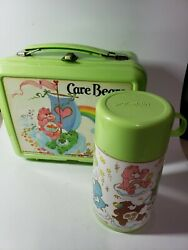 Vintage 1983 Care Bears Plastic Lunch Box With Thermos