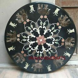 30and039and039 Marble Inlay Table Top Pietra Dura Home Garden Antique Coffee Decor B108
