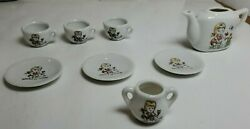 Vintage Childs China Tea Set 1950's Made In Japan - Little Girl Flowers 8