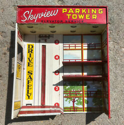 Vintage Tin Toy Marx Skyview Parking Tower Service Station Play Set Part Car