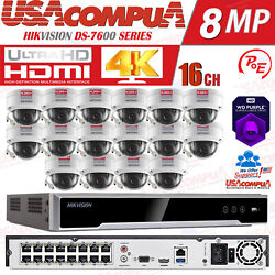 Hikvision 16ch Security Cctv System 16poe Nvr 4mp Network Ir Ip Camera 2.8mm Lot