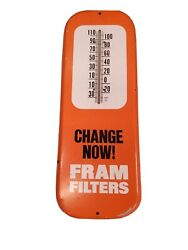 Vintage Original 1950's 60's Fram Filters Advertising Tin Sign Thermometer Nice