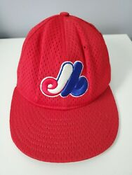 Vintage Authentic Mlb Montreal Expos Red Mesh Bp Hat Size 6 7/8 New Era