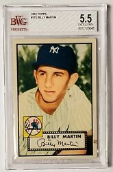 1952 Topps Billy Martin 175 Bvg Bgs 5.5 Excellent+ Rookie Rc New York Yankees