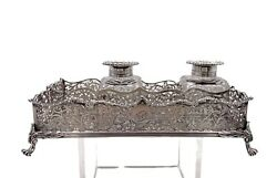 Charles And George Fox Sterling Silver Inkwell From 1886 In Victorian Style