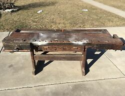 Antique Vintage Carpenters Wood Workbench With 2 Vises And Drawer 86andrdquo Long
